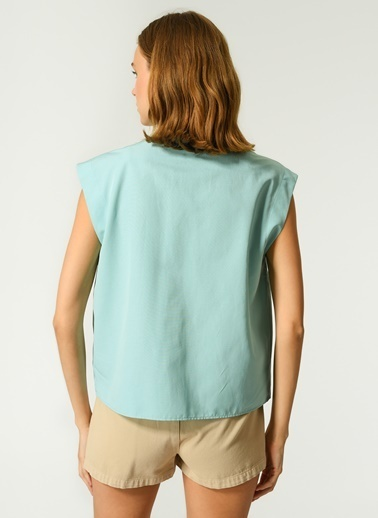 NGSTYLE NGSTYLE Kadın Kolsuz Günlük Gömlek Yeşil